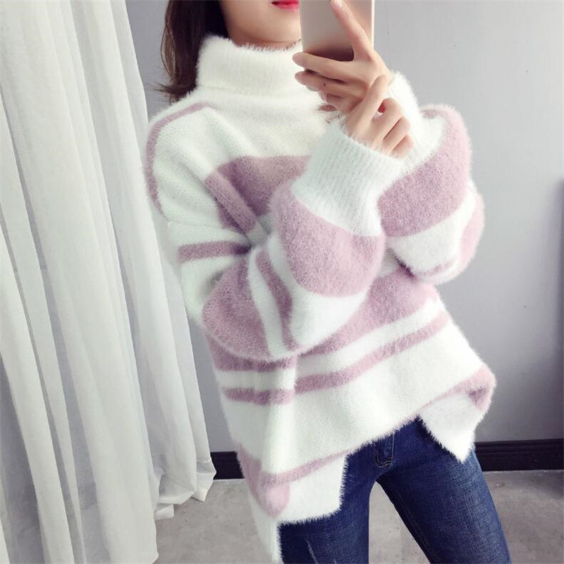 High Neck Sweater Female Striped Long Sleeve Loose Hooded Imitation Water Velvet Top Autumn And Winter New Bottoming Shirt