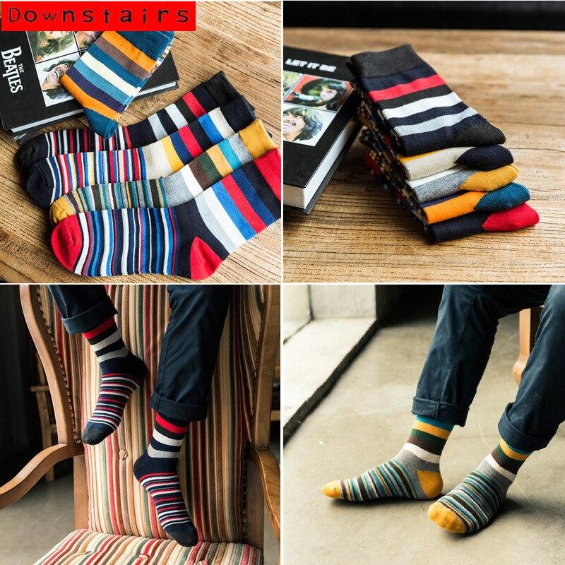 Downstairs Men Striped Cotton Socks Multi Color Fashion Colorful Ankle Socks Men Autumn Winter Dress Socks
