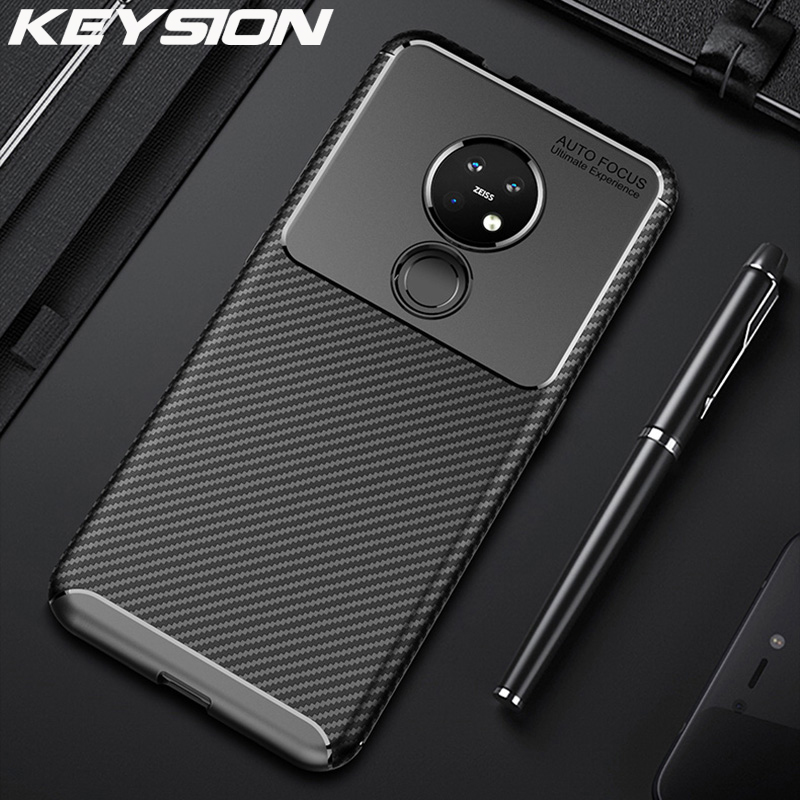 KEYSION Phone <font><b>Case</b></font> for <font><b>Nokia</b></font> 7.2 6.2 4.2 3.2 2.2 X71 Carbon Fiber <font><b>Silicone</b></font> ShockProof Back Cover for <font><b>Nokia</b></font> <font><b>8.1</b></font> 7.1 6.1 5.1 Plus image
