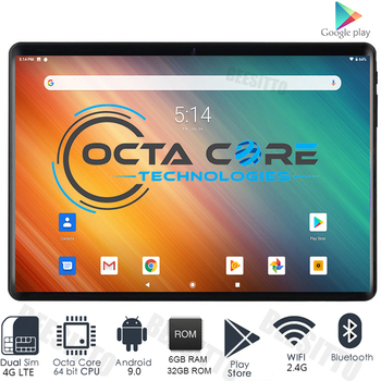 Tempered 2.5D Glass 10 inch Tablet PC Dual SIM 4G LTE 6GB RAM 32GB ROM Android 9.0 Octa-Core 5MP Bluetooth WiFi GPS +Gifts 1