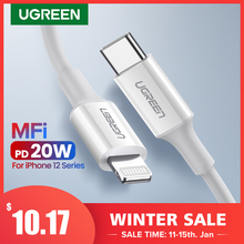 Ugreen mfi usb tipo c para relâmpago cabo para iphone 12 mini pro max 8 pd 18w 20w rápido usb c cabo de dados de carregamento para macbook pro
