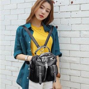 Image 5 - 3 in 1 Luxus Doppel Tasche Frauen Leder Rucksack Weibliche Kleine Schule Tasche für Mädchen Hohe Qualität Schulter Taschen für frauen 2019