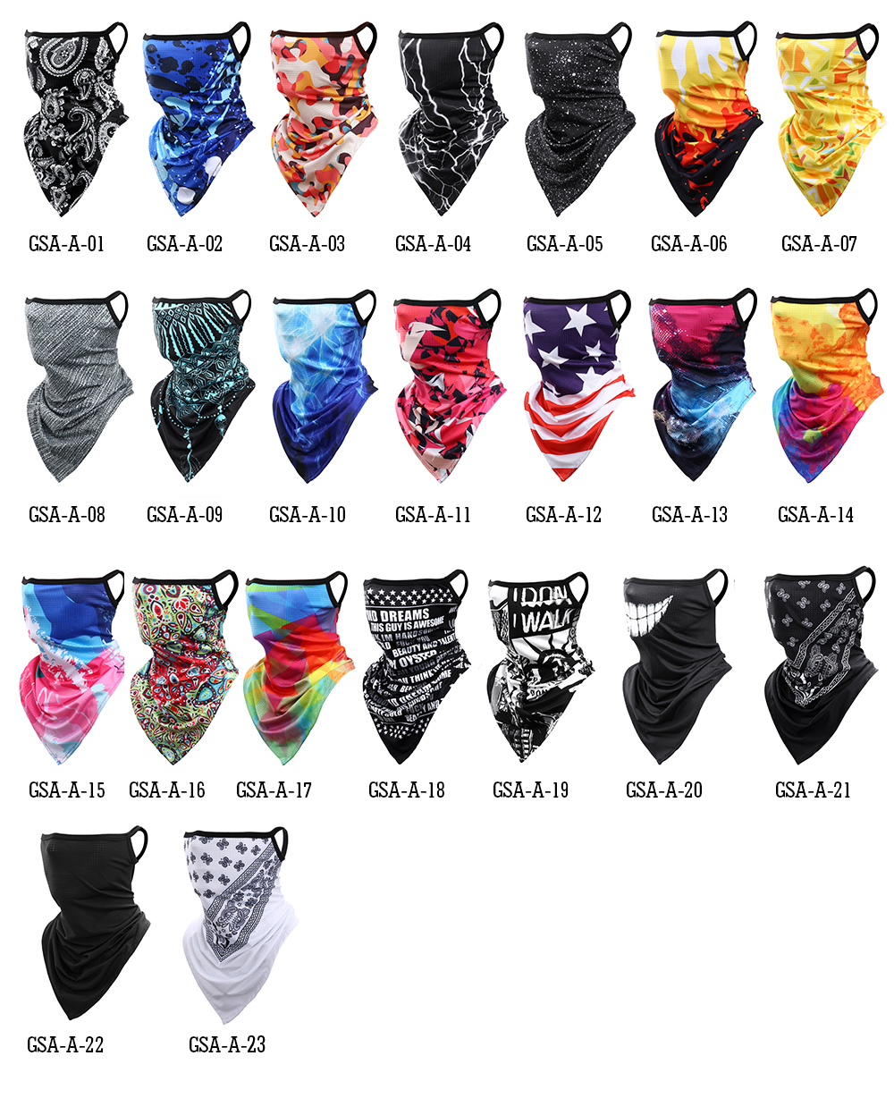 Triangle Bandana Half Face Scarves Hanging Ear Mask Scarf Ice Silk Neck Gaiter UV Sun Cover Smooth Breathable Headband Men Women