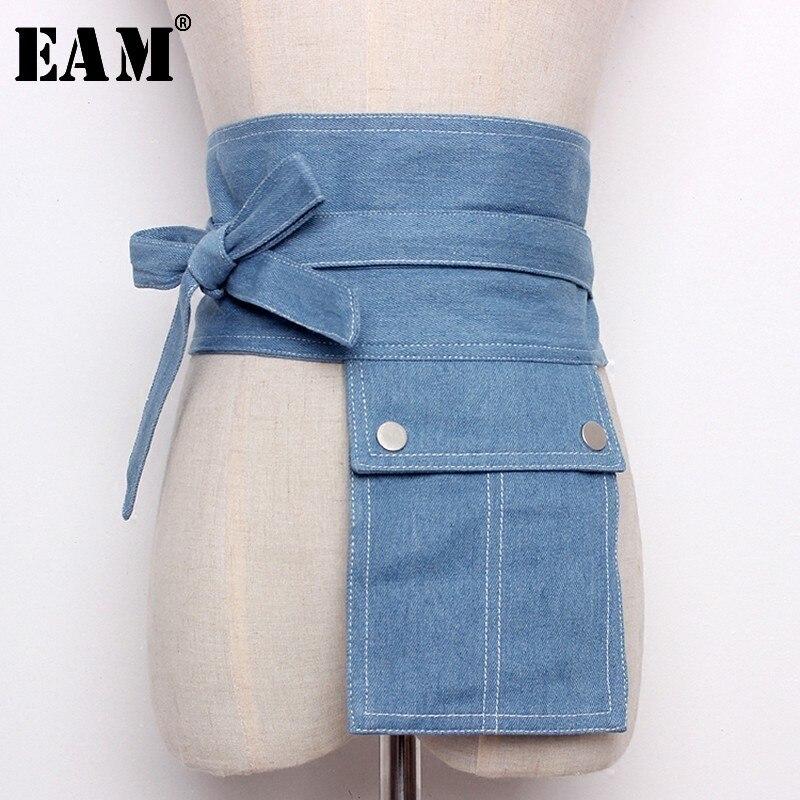 [EAM] 2020 New Summer Fashion Tide Light Blue Denim Patchwork Pockets Bow Adjustable Waist Woman All-match Belt S828