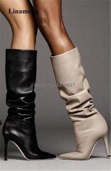 Nuevas botas a la moda para mujer, tacón de aguja, puntiagudas, botas de tacón alto largo de piel sin cordones, zapatos formales con tacón