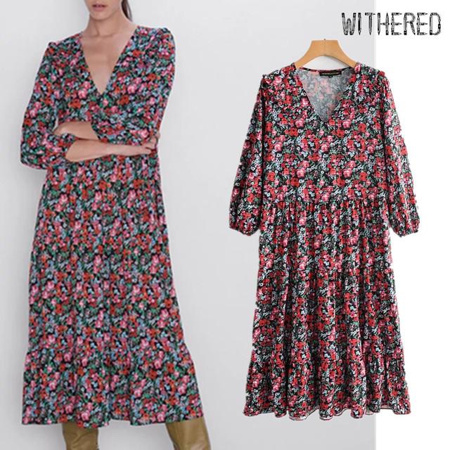 Withered autumn dress women england vintage floral print v-neck loose vestidos de fiesta de noche vestidos maxi dress plus size