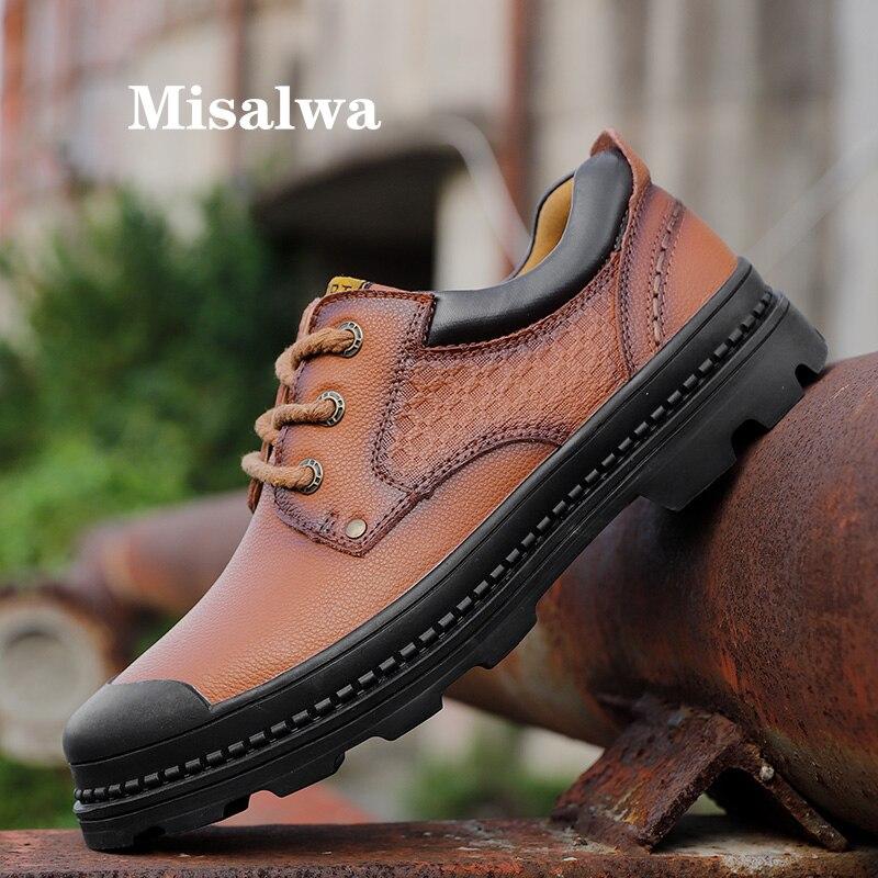 Misalwa Men Leather Work Shoe Men Low Boots Men Working Shoes Winter Autumn Tooling Shoes Casual Male Cap Toe Outdoor Men Flats|Men's Casual Shoes|Shoes - title=