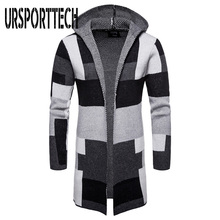 Winter Sweater Men Long Sleeve Hooded Cardigan Thick Coat Mens Casual Knitted Patchwork Sweaters Fashion Clothing