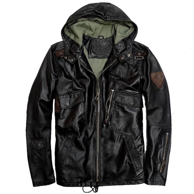 European Star Windbreaker Coats Hooded Lambskin Leather Jackets and Coats Mens Genuine Leather Sheepskin Jackets Coat 5XL Plus