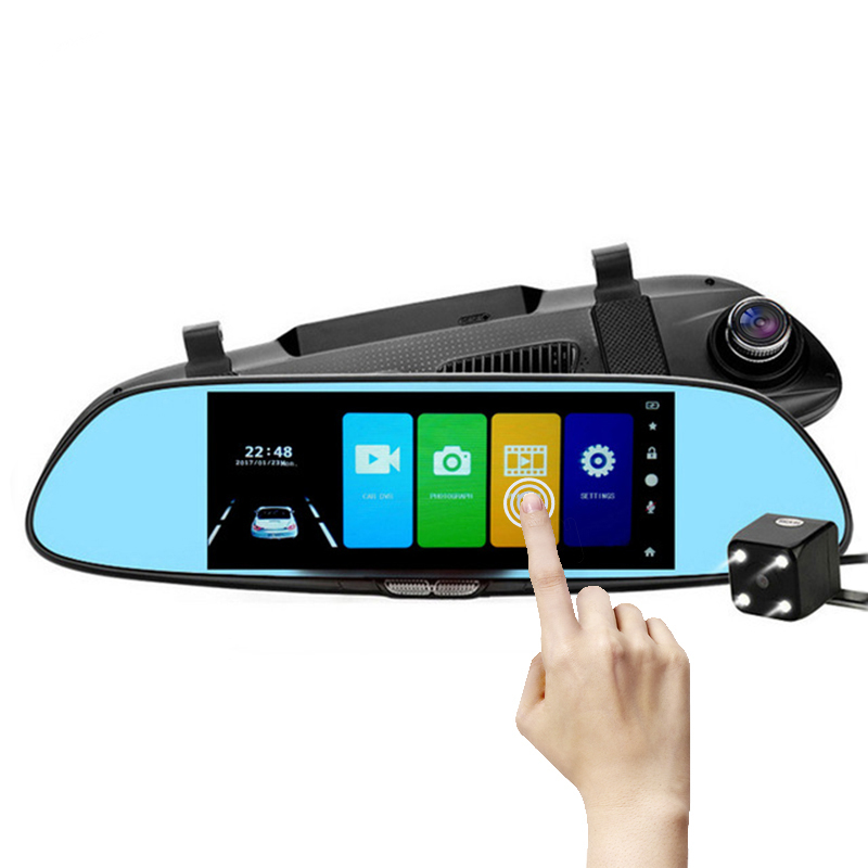Car Dvr Rearview-Mirror Camera Auto Full-Hd Camcorder Dual-Lens Touch-Screen Registratory