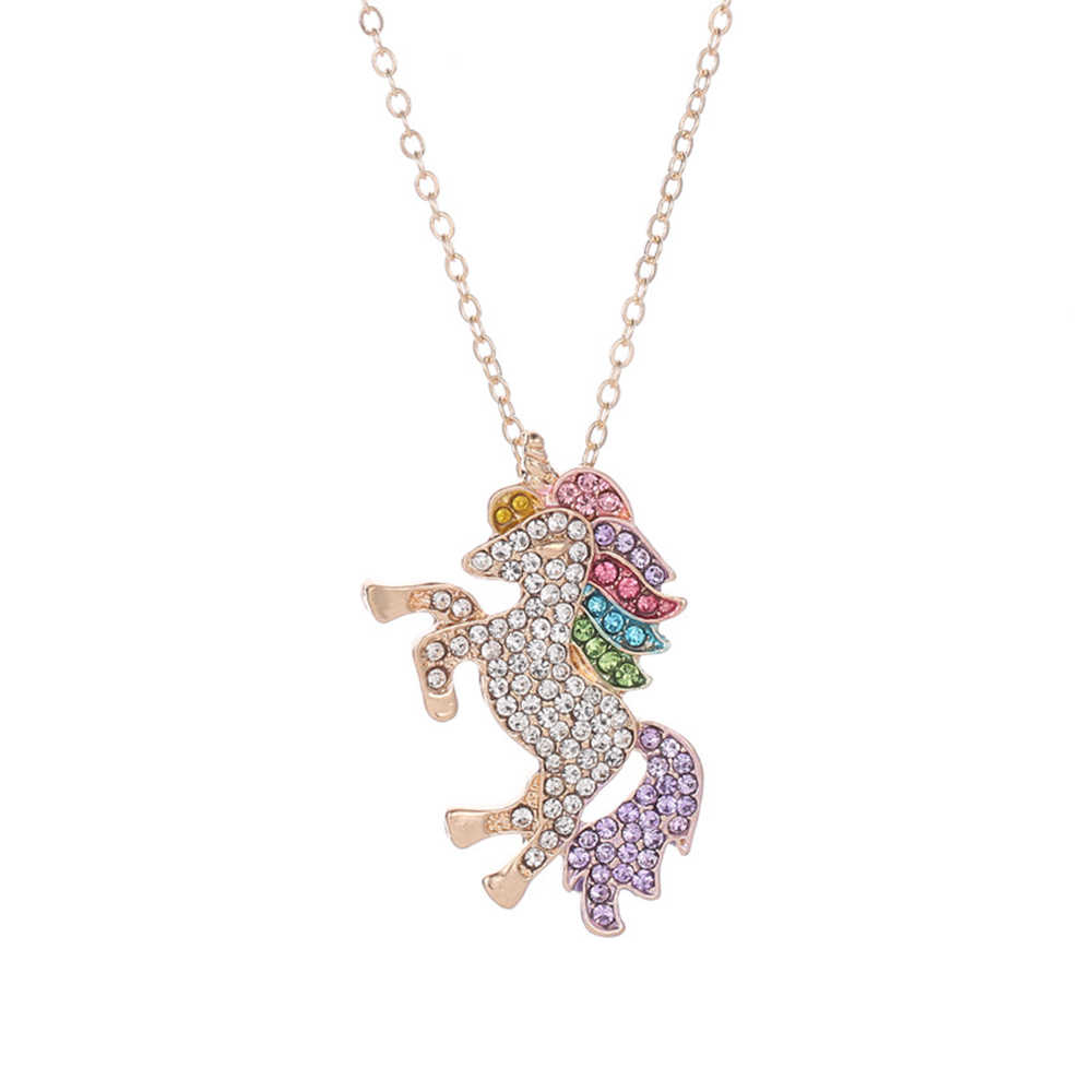 Unicorn necklace colored micro-studded with rhinestone necklace pendant for women charms for jewelry making