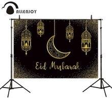 Allenjoy Eid Mubarak black background golden sand moon Islamic Hanging Lamps Ramadan Kareem photophone backdrop photocall