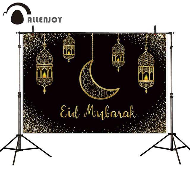 Allenjoy Eid Mubarak schwarz hintergrund goldene sand mond Islamischen Hängen Lampen Ramadan Kareem photophone hintergrund photo