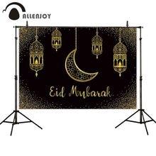 Allenjoy イードムバラク黒背景の黄金の砂イスラムランプラマダンカリーム photophone 背景 photocall