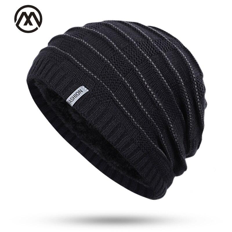 2019 Fashion Men's Skull Cap Winter Plus Velvet Men And Women Label Cotton Hat Striped Velvet Warm Quality Cotton Knit Hat
