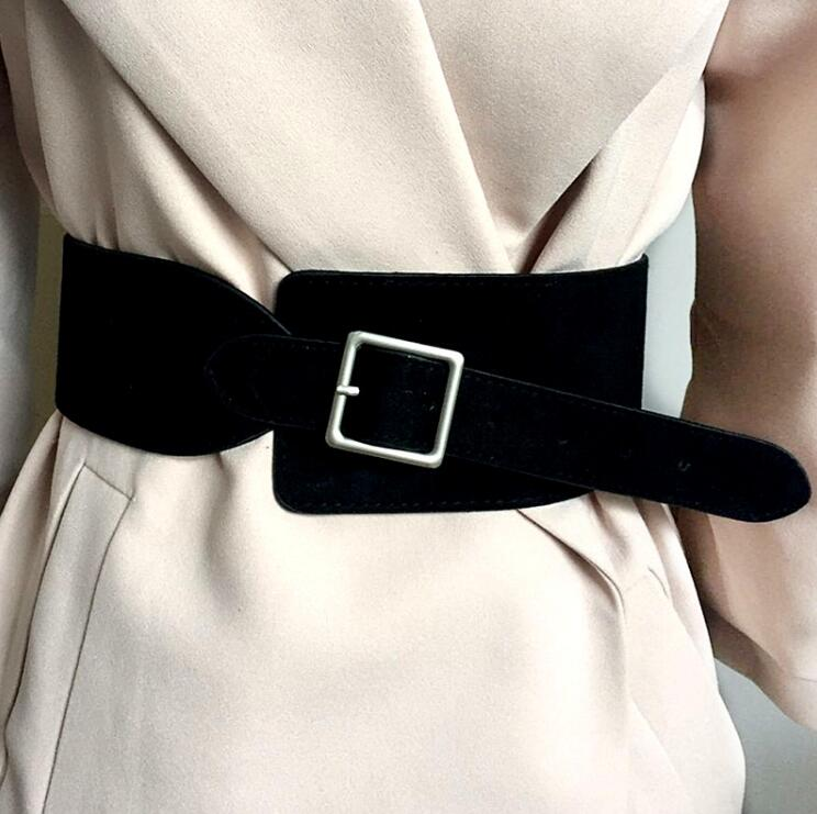Women's Runway Fashion Velvet Pu Leather Cummerbunds Female Dress Coat Corsets Waistband Belts Decoration Wide Belt R2199