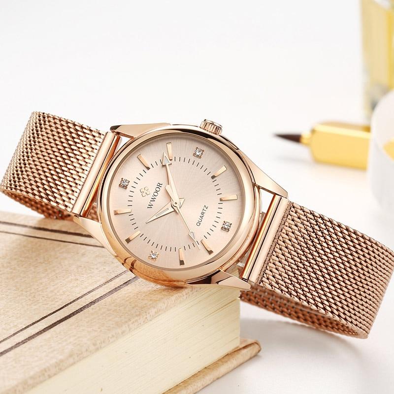 2021 WWOOR Fashion Brand Ladies Watches Luxury Diamond Rose Gold Women Bracelet Watch Elegant Dress Watch For Girls Montre Femme