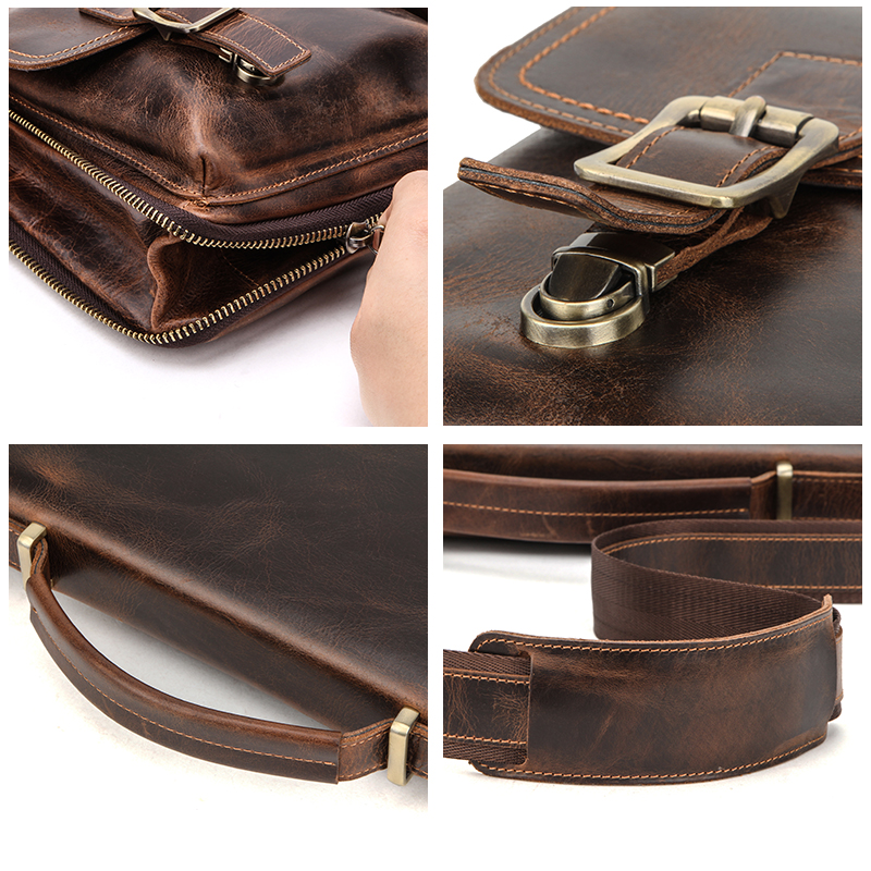 CONTACT'S Men Briefcase Bag Crazy Horse Leather Shoulder Messenger Bags Famous Brand Business Office Handbag for 14 inch Laptop 6