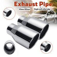 Silenciador de escape, 2 peças, carro, 63mm 101mm, tubo de escape, parede única, tubo de escapamento automático, aço inoxidável
