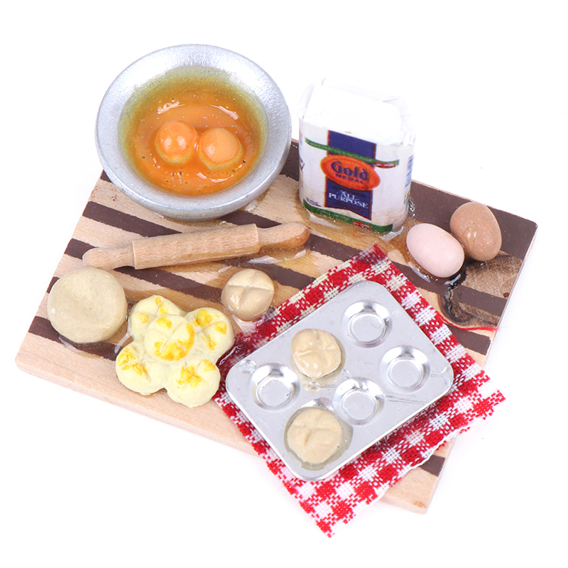1:12 Dollhouse Miniature Kitchen Food Eggs Milk Bread on Board Dollhouse Decor