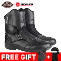 SCOYCO Motorcycle Boots Men Motorcycle Shoes Windproof Botas Moto Motocross Boots Protective Riding Boots 35-46 Autumn Winter