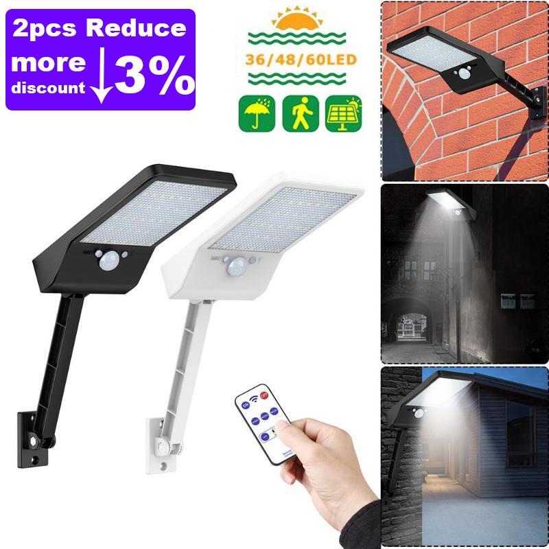 1000LM Afstandsbediening Verbeterde 48 Leds 60 Leds Solar Light Pir Motion Sensor IP65 Outdoor Solar Wall Street Licht Waterdicht lamp