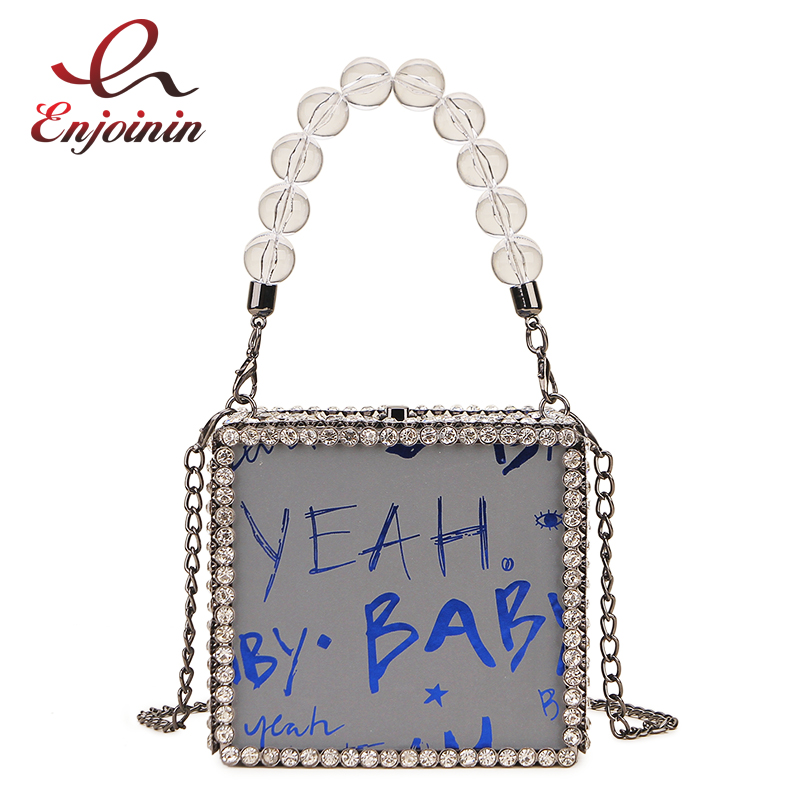 New Design Diamond Square Box Style Reflective Letter Women Fashion Party Handbag Shoulder Bag Crossbody Bag Female Chain Purse