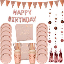 Rose Gold Party Disposable Tableware Plate Straws Girl Birthday Party Decor Adult Celebration Baby Bridal Shower Party Supplies
