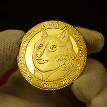 Funny Gold Plated Dogecoin Commemorative Coins Cute Dog Pattern Dog Year Collection Coins Collectible Commemorative Coin