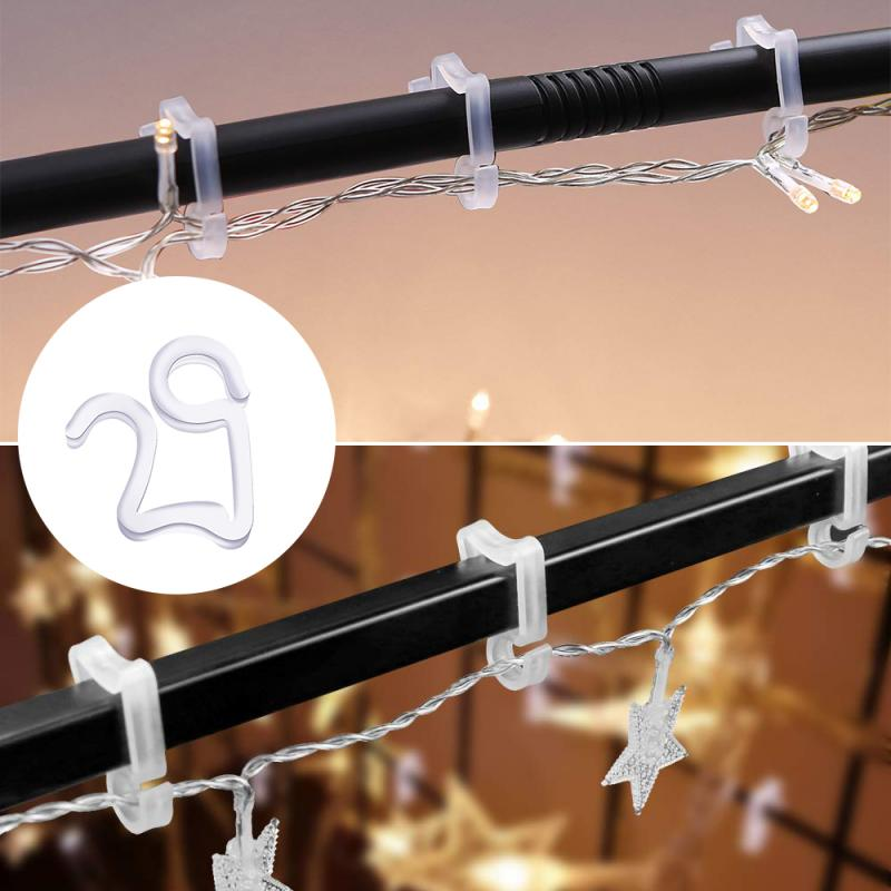 50PCS Outdoor Gutter Hooks Clips Xmas Icicle Fairy Lights LED Tile Roof Clear Fairy Light Hange Hook Lights String Plastic Hook