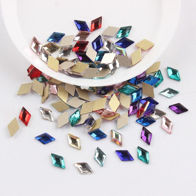Все смешанные цвета, 30 шт, стразы для дизайна ногтей, сделай сам, без горячей фиксации, стеклянные камни для ногтей, драгоценные камни для 3D украшения для ногтей - Цвет: 3x5mm Rhombus