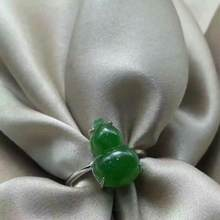 Authentic natural new female ring s925 silver set and Tianyu jade gourd ring live mouth ring send certificate(China)