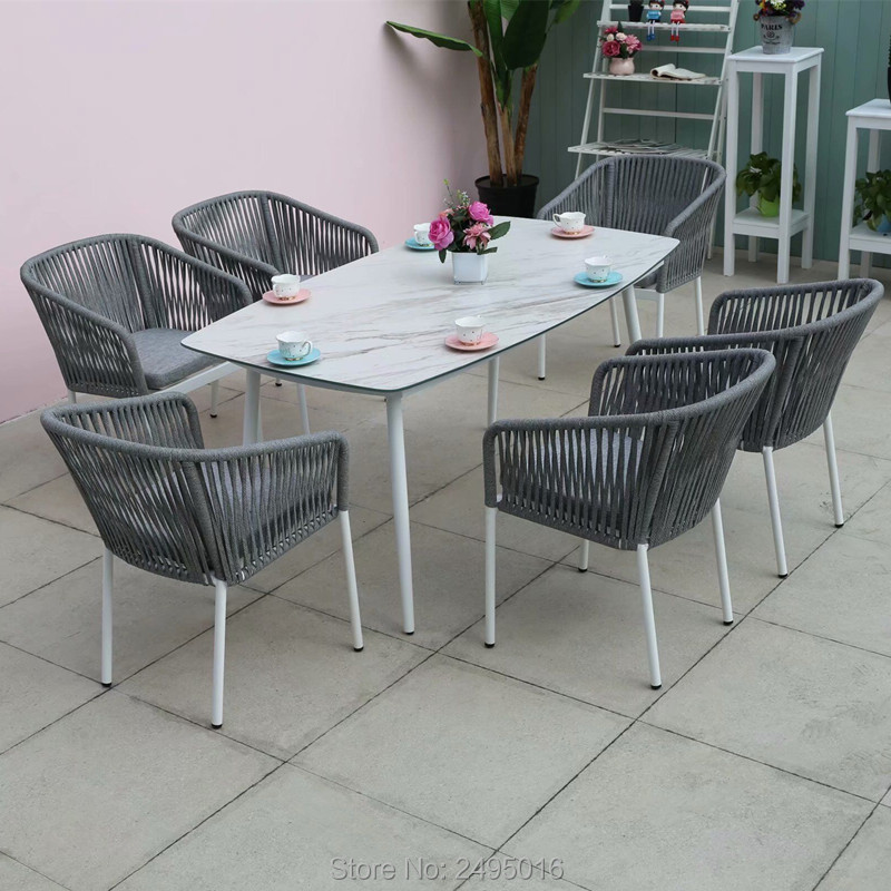 7-piece Patio Woven Rope Furniture Dining Set Garden Chat Set Table And Chairs With Cushions All Weather
