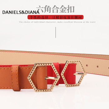 цены Women Belt Fashion PU Leather Heart Shape Pin Buckle Belt Round Hexagon Triangle Geometry Pin Buckle