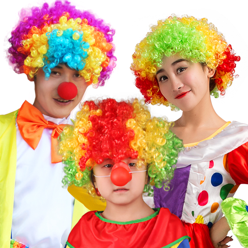 Kids Afro Curly Disco Circus Dress Up Party Costume Clown Wig HALLOWEEN Amusing
