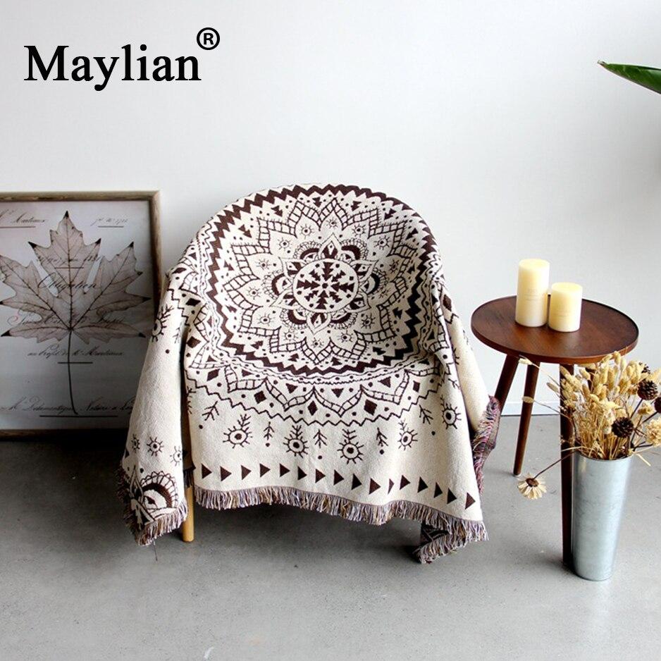 Algodão colorido boêmio chenille plaids cobertor sofá decorativo joga no sofá/cama grande cobertor de cobertura com borla t274