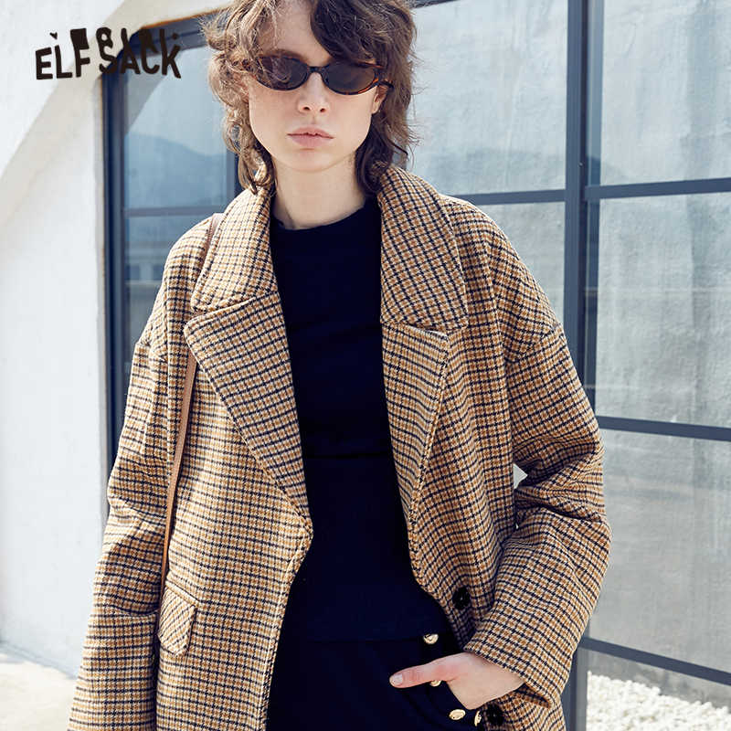 ELFSACK Plaid Woolen Coats Turn-down Collar Women Elegant Jackets 2019 Winter Streetwear British Blends Office Ladies Outwear
