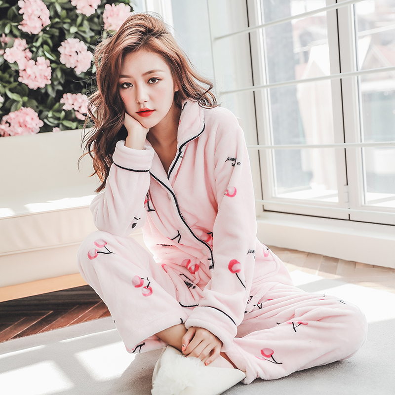 Plus Size 3XL 4XL 5XL Pyjamas women winter new Korean kawaii pink coral fleece warm pajama set thick flannel pijama home service 129