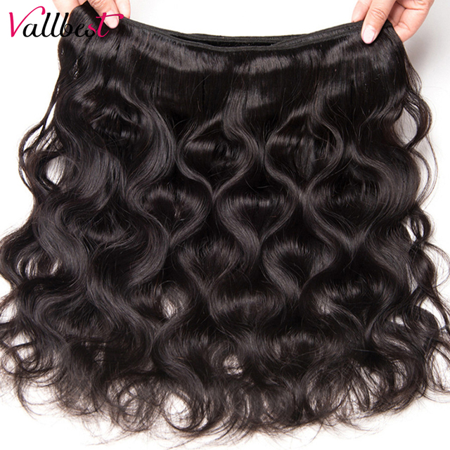 Vallbest Peruvian Body Wave Bundles 100% Remy Human Hair Extensions Natural Color 100G Machine Double Weft 3 Or 4 Bundle Deals 2