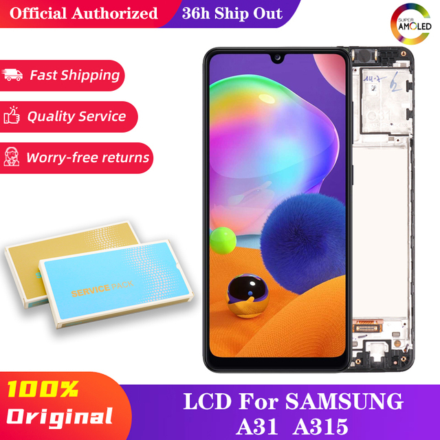 10 pçs 6.4 display display display com moldura para samsung galaxy a31 a315 SM A315F SM A315F/ds lcd touch screen digitador assembléia peças de reparo