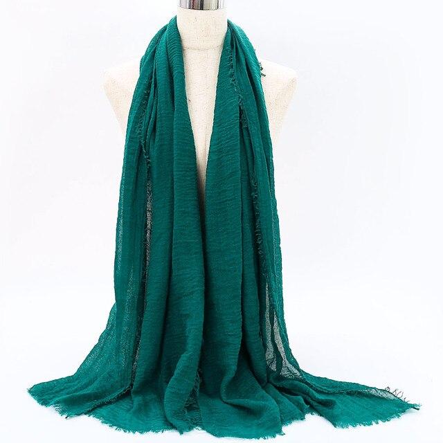 Prezzo all'ingrosso 90*180 centimetri donne musulmano piega sciarpa del hijab femme musulman morbido cotone foulard scialli islamici del hijab e avvolge 5