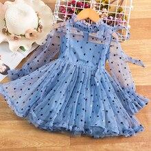 В горошек для девочек; Платье принцессы в горошек От 2 до 6 лет для детей ясельного возраста, на день рождения шифоновое Пышное Платье Vestidos Дл...