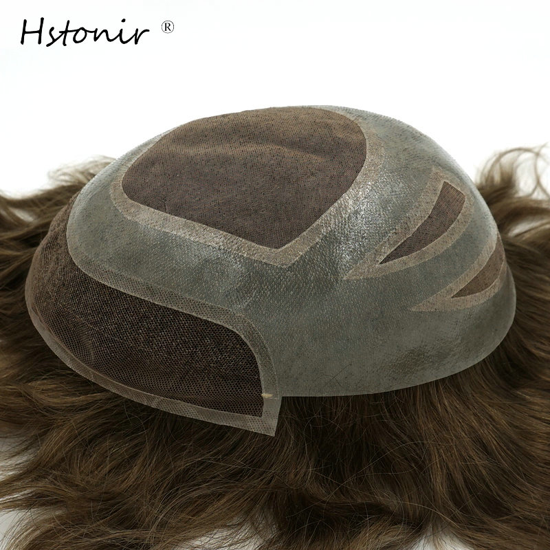 Hstonir Mono Swiss PU Mens Toupee Free Style 8x10 Inch Indian Remy Hair Toupee Mens Hair Piece Replacement Systems H010