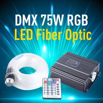 DMX 75W RGB LED Fiber Optic Engine Driver Light 4m 550pcs 0.75mm Fiber Optic Cable 28 key RF Remote Control Star Lighting 16w light engine 0 75 1 1 5mm fiber optic star ceiling light for andre baccili benevides