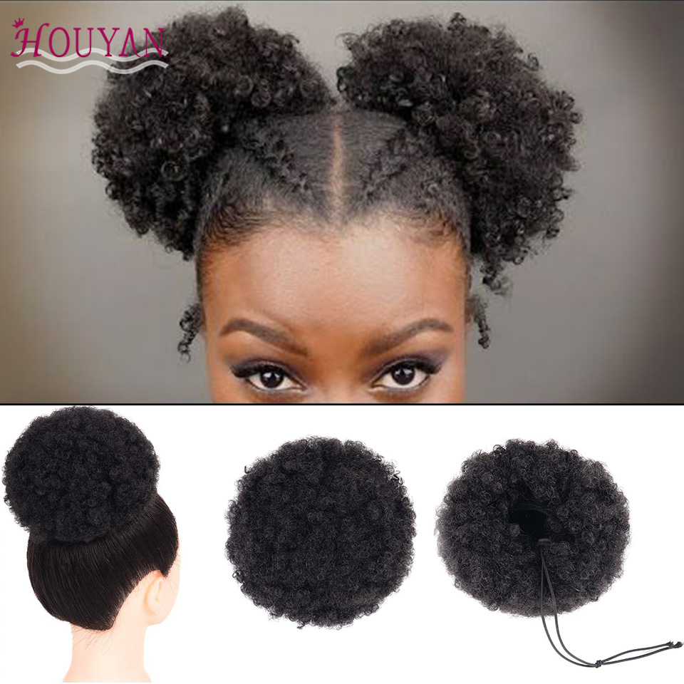 HOUYAN Afro Bun Short Kinky Curly Wrap Drawstring Puff Ponytail Bun Extension Synthetic Hair Large Round Hair Accessories