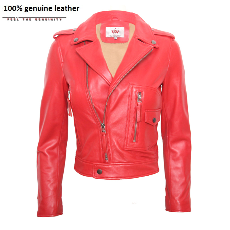 Womens Leather Jacket Sheepskin Jacket Lambskin Red Black Female Genuine Leather Overcoat Ladies Biker Clothing M117