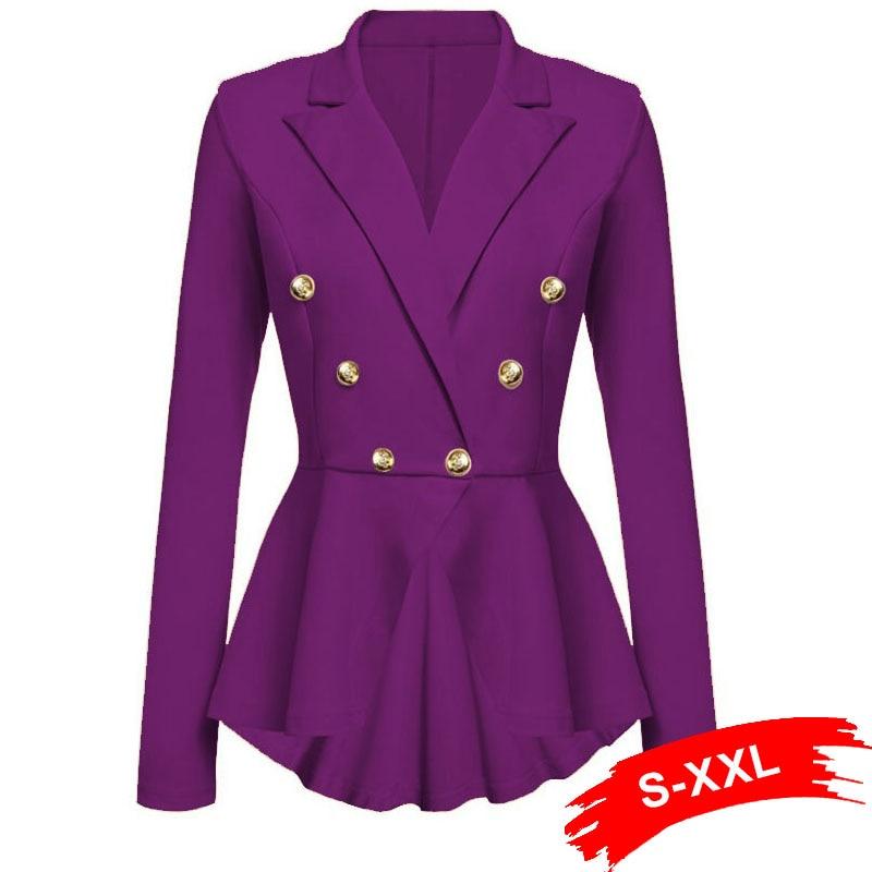 Plus Size Double Breasted  Golden Button Blazer With Ruffle Feminino Office Ladies Formal Jacket White Blazer Women Suit