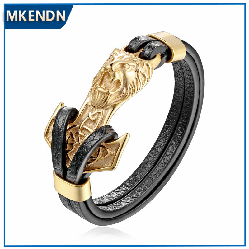 MKENDN New Mens Bracelets Gold Leo Lion Stainless Steel Anchor Shackles Black Leather Bracelet Cuff Wristband Fashion Jewelry