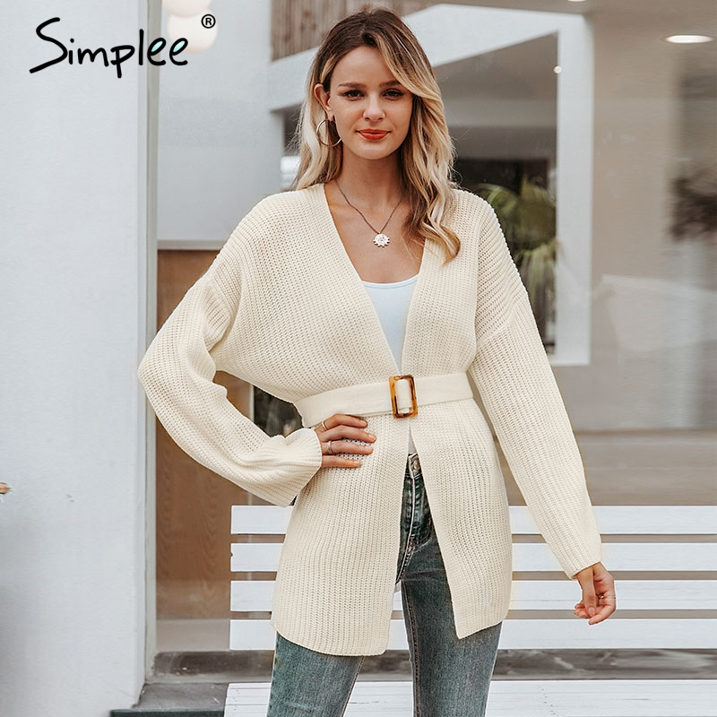 Simplee Sash Belt Women Knitted Cardigans Casual Flare Sleeve Autumn Female Cardigan Sweater Loose V Neck Ladies White Cardigans