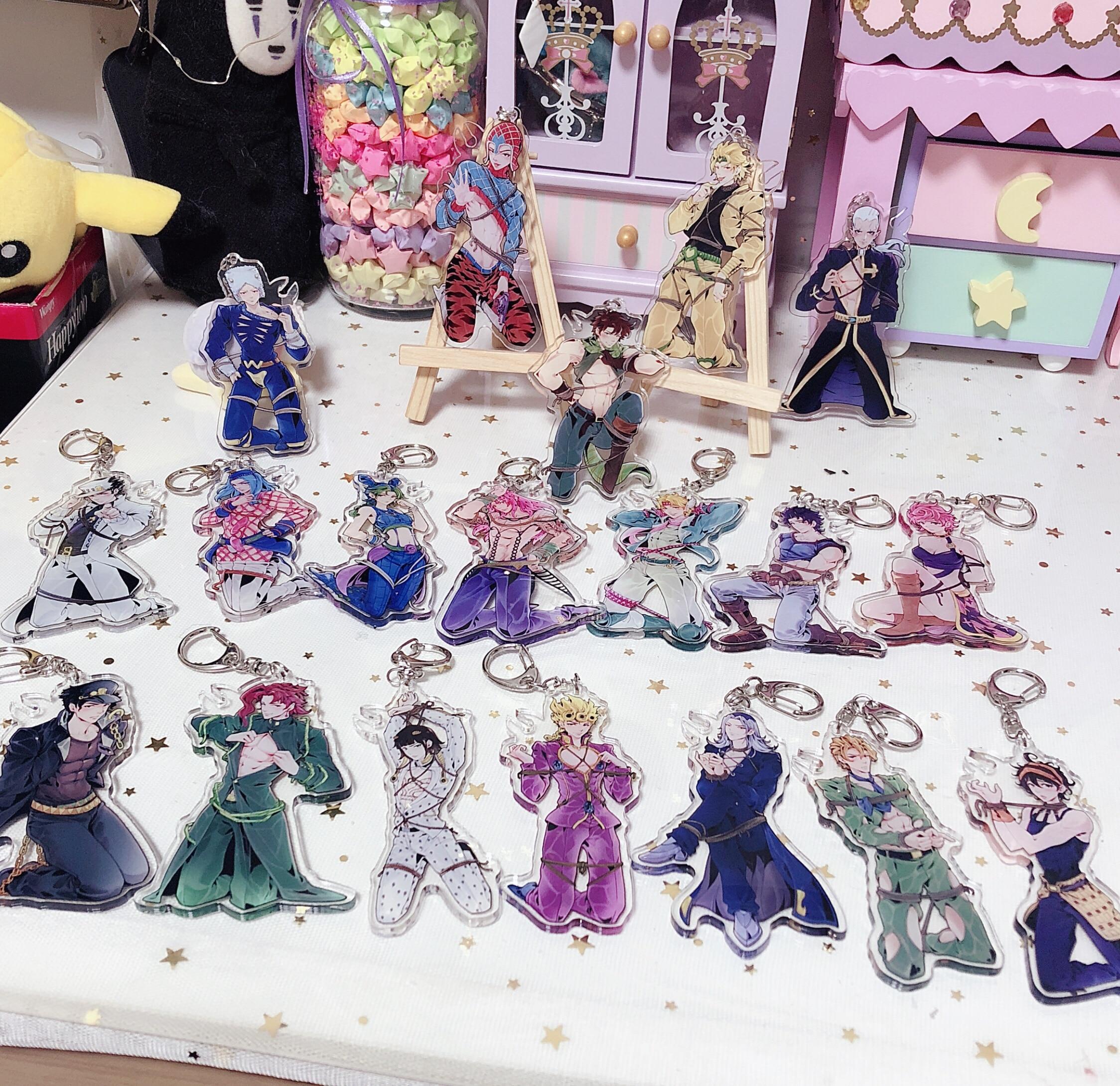 Anime JOJO's Bizarre Adventure Golden Wind Kujo Jotaro Giorno Kakyoin Cosplay Key Chain Pendant Cartoon Keyring Cute Gift 10cm